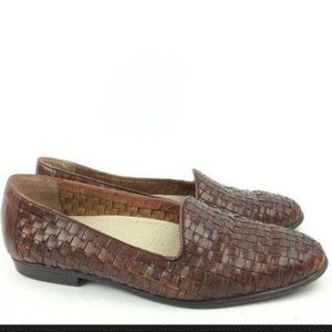 Cabin Creek Flats 8 Woven Leather Loafers 80s 90s